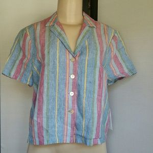 FRAME NWT STRIPED BUTTON DOWN SHORT SLEEVE TOP SM